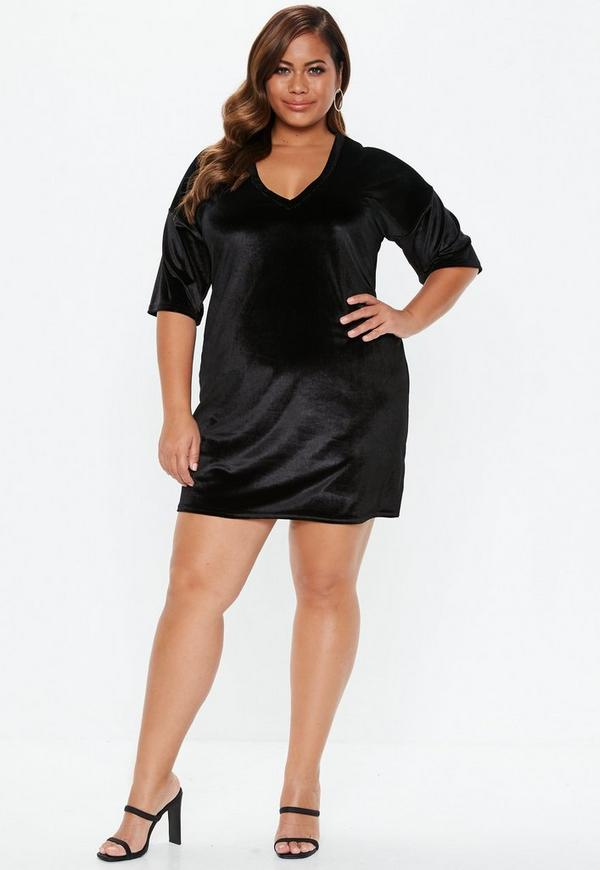 Stylish Plus Size Velvet Dresses - wholesale Plus Size clothing