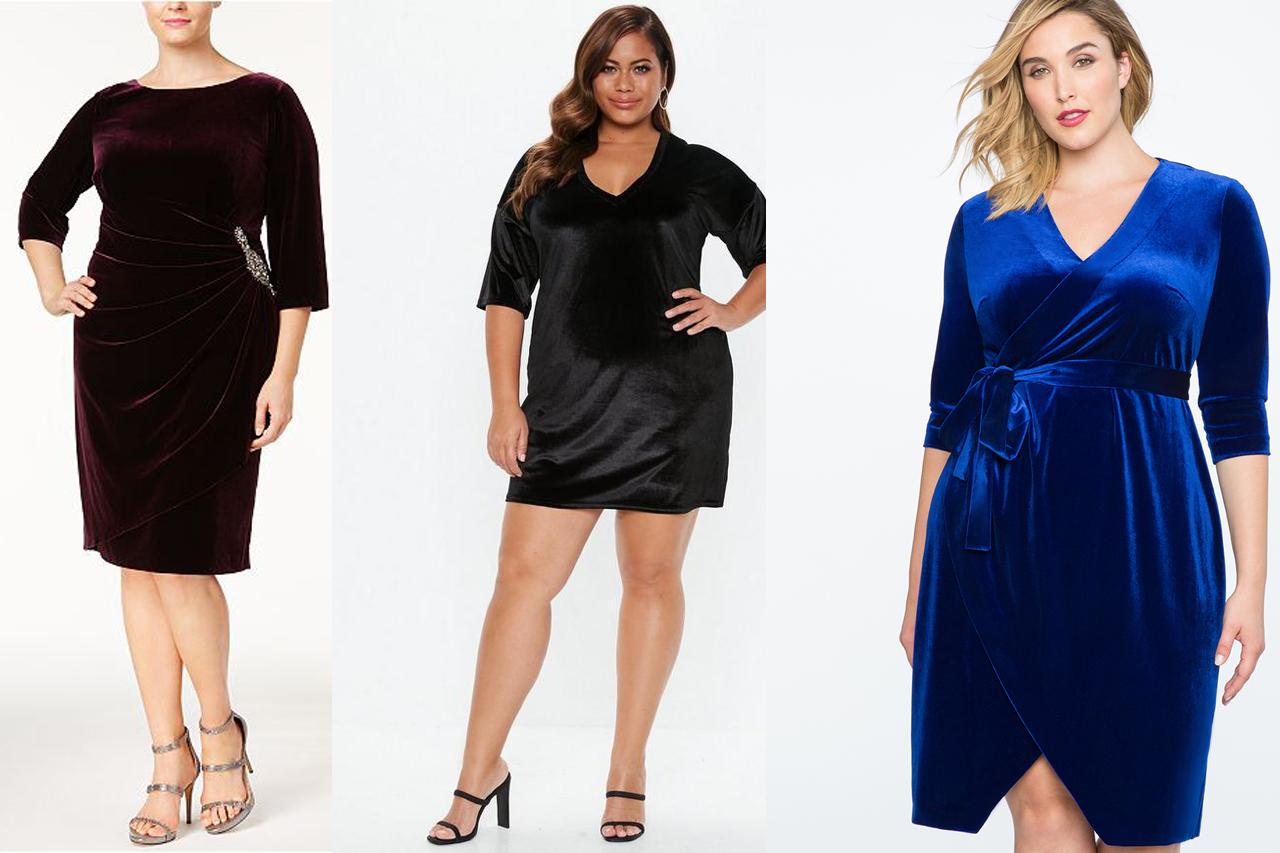 Stylish Plus Size Velvet Dresses - wholesale Plus Size clothing